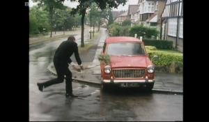 Basil Fawlty from Fawlty Towers. A Classic moment in TV History.
