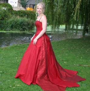 My gorgeous red silk wedding dress. I was a princess for a day