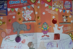 Great fun magazine cutting, sticking and drawing. My little girl enjoyed it too...