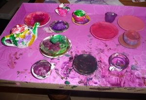 Amber's 'paint your own tea set' gift. Spot the ones controlling mummy did
