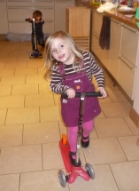Indoor scootering - a great way to burn off excess energy...