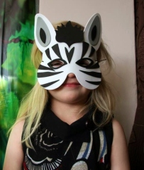 Party Girl in the Zebra mask she made as part of the craft activity