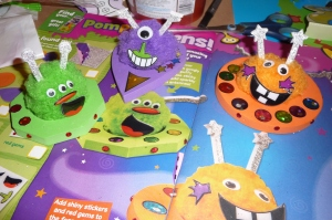 Magazine-craft Aliens (made with Daddy)