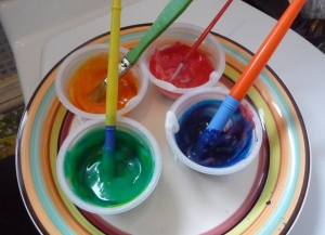 Bath Paints: made with cornflour and food colouring