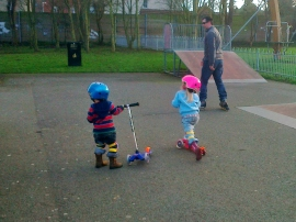 Scootering at the park is much easier than on the school run