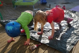The sun is shining and my kids want a muddy puddle