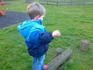 Balancing boy 'All by myself'