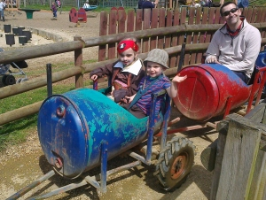 Family Martin on the Barrel Train