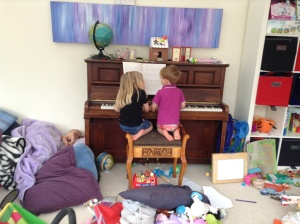 My angels playing the piano