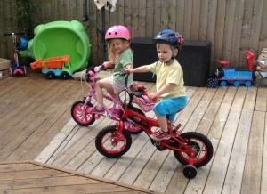 Aaron on his new bike (early bday gift)