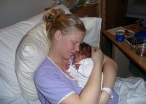 First born, precious moment