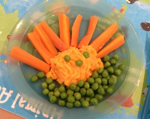 Whereas my son won't eat anything but peas and carrots!