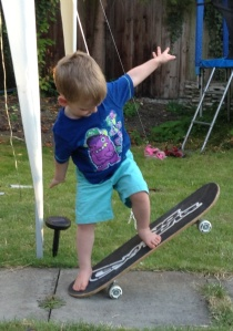 Practising skateboard at friends' BBQ