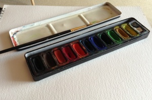 My 'out and about' paint kit: I didn't feel up to getting the big box out!