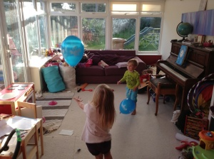 Playing with the all-important balloon!