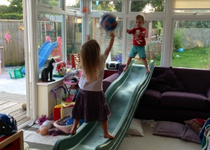 Inventing ball games in the play room