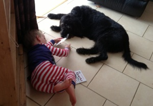 Son and dog chilling out together