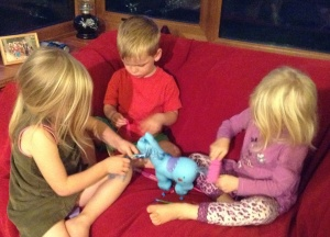 Captured for posterity: cousins cooperating!