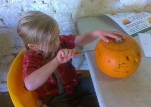 Getting stuck into the pumpkin