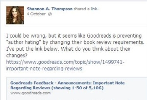 Goodreads' change of policy post