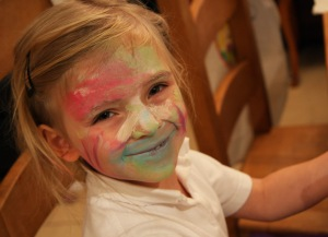 Letting the kids paint their own faces