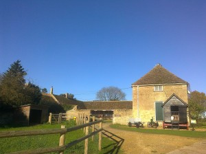 Blue skies at the farm