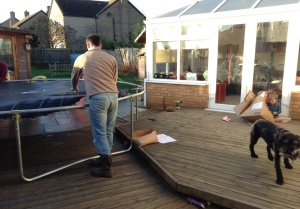 Assembling the trampoline
