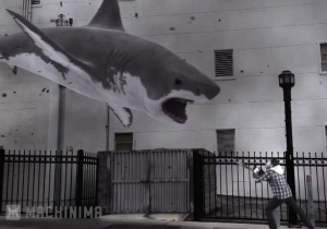 Because of course a chainsaw is weapon of choice against a great white