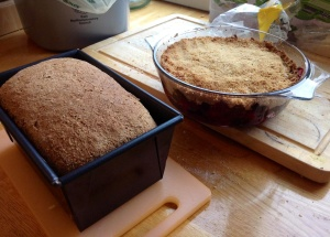 Homemade bread and crumble