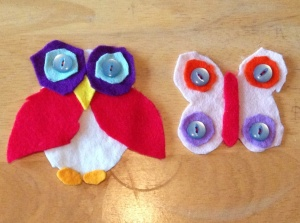 Felt animals with buttons