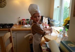 Forgiving son as we finally did baking