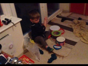 Drumming with his sister (click for video)