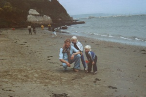 Dad, me and sis at the beach