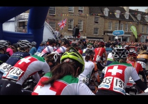 Watching the start of the bike race