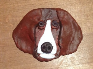 Painted clay dog