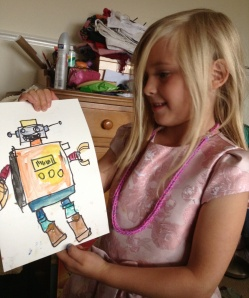 Proud of her robot