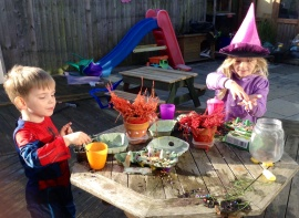 Making potions in the garden