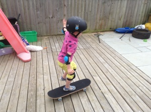 Son gave up his dummies for a skateboard